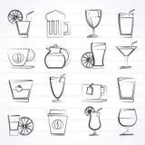 Ποτά και εικονίδια ποτών Στοκ Φωτογραφία