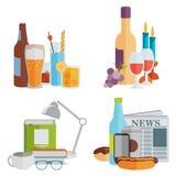 ποτά Οινοπνευματώδης και μη οινοπνευματούχος Επίπεδο σχέδιο Στοκ Εικόνα