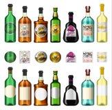 Ποτά οινοπνεύματος σε ένα μπουκάλι με τις διαφορετικές εκλεκτής ποιότητας ετικέτες Ρεαλιστικό απόν ρούμι μπύρας ουίσκυ κρασιού Te απεικόνιση αποθεμάτων