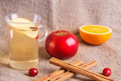Ποτά πτώσης και χειμώνα Νερό φθινοπώρου detox με το μήλο, την κανέλα και το αχλάδι στο βάζο κτιστών Στοκ Φωτογραφία