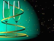 Ποτήρια της σαμπάνιας και της ταινίας Στοκ Εικόνες