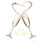 Ποτήρια της σαμπάνιας με το ράντισμα της καρδιάς στο λευκό Στοκ εικόνα με δικαίωμα ελεύθερης χρήσης