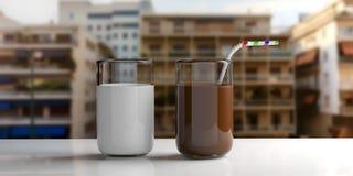 Ποτήρια του γάλακτος και του γάλακτος choco τρισδιάστατη απεικόνιση Στοκ Φωτογραφία