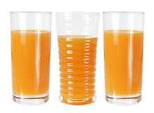 Ποτήρια του χυμού από πορτοκάλι Στοκ Εικόνα