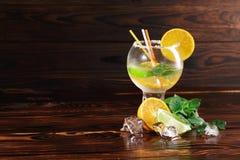 Ποτήρι κοκτέιλ ενός κρύου ποτού σε ένα ξύλινο υπόβαθρο Εσπεριδοειδή και πάγος για ένα κούνημα Έννοια επιλογών καφέδων διάστημα αν Στοκ Φωτογραφία