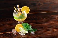 Ποτήρι κοκτέιλ ενός κρύου ποτού σε ένα ξύλινο υπόβαθρο Εσπεριδοειδή και πάγος για ένα κούνημα Έννοια επιλογών καφέδων διάστημα αν Στοκ Εικόνα