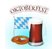 Ποτήρι της μπύρας με pretzel, σημαία της Βαυαρίας και εγγραφή Υπόβαθρο για το φεστιβάλ Oktoberfest μπύρας στο ύφος κινούμενων σχε Στοκ εικόνες με δικαίωμα ελεύθερης χρήσης