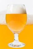 Ποτήρι της μπύρας στο υπόβαθρο μπύρας Στοκ Εικόνες