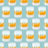 Ποτήρι του άνευ ραφής σχεδίου ουίσκυ και πάγου Σκωτσέζικο υπόβαθρο Ο Δρ απεικόνιση αποθεμάτων