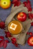 Ποτήρι του μηλίτη Μηλίτης και φρούτα της Apple Ποτό της Apple, κοκτέιλ, ποτό, χυμός Στοκ Εικόνες