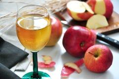 Ποτήρι του χυμού της Apple με τη φρέσκια κόκκινη Apple Στοκ φωτογραφία με δικαίωμα ελεύθερης χρήσης