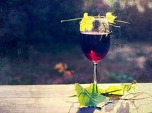 Ποτήρι των φύλλων κόκκινου κρασιού και σταφυλιών σε μια ξύλινη επιφάνεια Στοκ Εικόνες