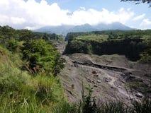Ποταμός λάβας του ηφαιστείου Merapi στοκ φωτογραφίες με δικαίωμα ελεύθερης χρήσης
