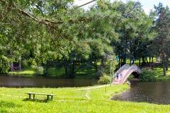 ποταμός αντανάκλασης πάρκων γεφυρών για πεζούς θάμνων Στοκ Φωτογραφία