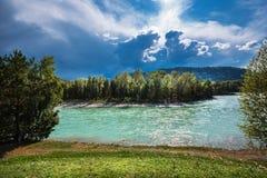 ποταμός Αυγούστου altai του 2006 katun Τοπίο ποταμών του Altai στοκ εικόνα με δικαίωμα ελεύθερης χρήσης