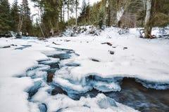 Ποταμός βουνών κάτω από τον πάγο Στοκ Εικόνα