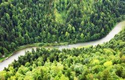 Ποταμός βουνών μεταξύ του πράσινου τοπίου αιχμών βουνών Στοκ εικόνα με δικαίωμα ελεύθερης χρήσης