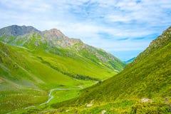 Ποταμός βουνών που ρέει μεταξύ των πράσινων βουνοπλαγιών, Kyrgyzst Στοκ φωτογραφία με δικαίωμα ελεύθερης χρήσης