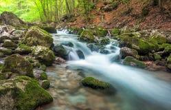 Ποταμός βουνών στην έκταση δασών και βουνών Κριμαία, ο μεγάλος Στοκ Εικόνα