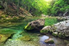 Ποταμός βουνών στην έκταση δασών και βουνών. Στοκ Εικόνες