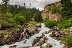 Ποταμός βουνών στους δασικούς καταρράκτες και καταρράκτης στα βουνά Στοκ φωτογραφία με δικαίωμα ελεύθερης χρήσης