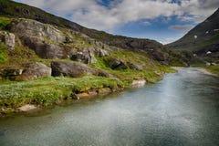 Ποταμός βουνών στο θερινό ταξίδι της Νορβηγίας Στοκ Φωτογραφία