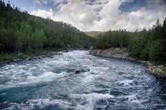 Ποταμός βουνών στο θερινό ταξίδι της Νορβηγίας Στοκ εικόνα με δικαίωμα ελεύθερης χρήσης