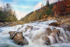 Ποταμός βουνών τοπίων κατά τη δασική άποψη φθινοπώρου των πετρωδών ορμητικά σημείων ποταμού Στοκ Εικόνα