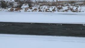 Ποταμός βουνών, landfast πάγος, χιόνι, δάσος στη Σιβηρία απόθεμα βίντεο