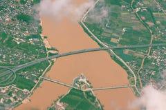 ποταμός γεφυρών κίτρινος Στοκ Εικόνες