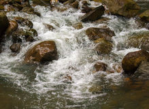 Ποταμός γλυκού νερού μεταξύ των μαύρων βράχων Φρέσκο γρήγορο ρεύμα aqua στις πέτρες Στοκ Φωτογραφίες