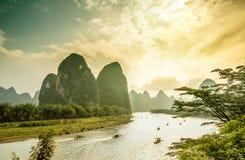 Ποταμός λι από Yangshuo στην Κίνα στοκ φωτογραφία με δικαίωμα ελεύθερης χρήσης