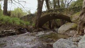 Ποταμός κάτω από τη μεσαιωνική γέφυρα απόθεμα βίντεο