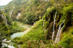 Ποταμός και καταρράκτης σε Plitvice, Κροατία Στοκ φωτογραφία με δικαίωμα ελεύθερης χρήσης
