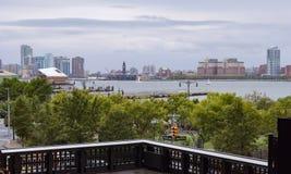 Ποταμός και Hoboken του Hudson από την υψηλή γραμμή NYC στοκ φωτογραφίες με δικαίωμα ελεύθερης χρήσης