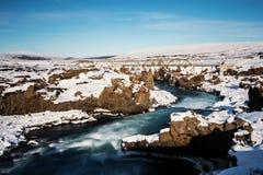 Ποταμός καταρρακτών ` s Godafoss το χειμώνα στοκ εικόνες