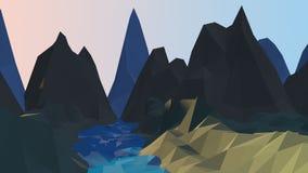 Ποταμός κινούμενων σχεδίων και χαμηλό πολυ υπόβαθρο βουνών στοκ εικόνες με δικαίωμα ελεύθερης χρήσης