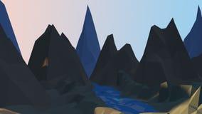 Ποταμός κινούμενων σχεδίων και χαμηλό πολυ υπόβαθρο βουνών στοκ εικόνες