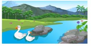 Ποταμός κινούμενων σχεδίων παπιών που ρέει από μια ειρηνική πόλη ελεύθερη απεικόνιση δικαιώματος