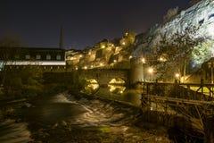 Ποταμός νύχτας λουξεμβούργιων πόλεων Στοκ εικόνα με δικαίωμα ελεύθερης χρήσης