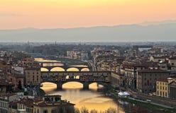 Ποταμός Παναγία del Fiore και Arno της Φλωρεντίας Στοκ εικόνα με δικαίωμα ελεύθερης χρήσης