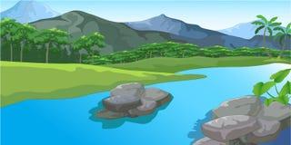 Ποταμός που ρέει από μια ειρηνική πόλη διανυσματική απεικόνιση