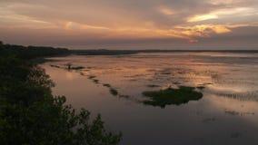 Ποταμός σαφές Wisirare, Κολομβία Casanare ηλιοβασιλέματος απόθεμα βίντεο