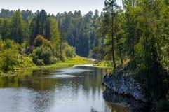Ποταμός σε ένα φυσικό φωτεινό φως του ήλιου πάρκων Στοκ Φωτογραφίες