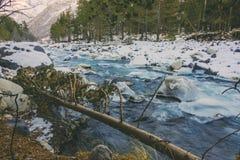 Ποταμός στα βουνά χιονιού Στοκ Φωτογραφία