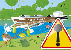 Ποταμός στη ρύπανση Στοκ Εικόνες
