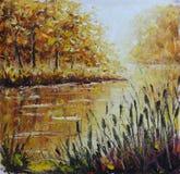 Ποταμός στο δάσος φθινοπώρου, ελαιογραφία Στοκ Εικόνες