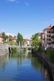 Ποταμός στο Λουμπλιάνα Στοκ Φωτογραφία