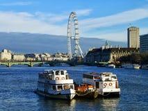 Ποταμός Τάμεσης & μάτι του Λονδίνου Στοκ Εικόνα