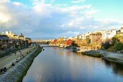 Ποταμός της Ιαπωνίας Κιότο Kamo Στοκ Εικόνες
